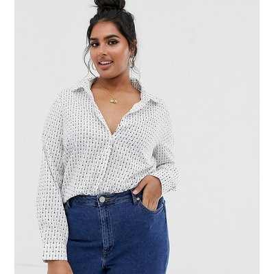 Brave Soul Plus – Shirley – Bedrucktes Hemd-Weiß