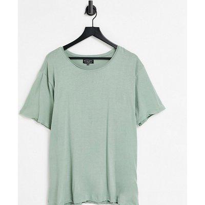 Brave Soul Plus – Ungesäumtes T-Shirt in Grün   BRAVE SOUL SALE