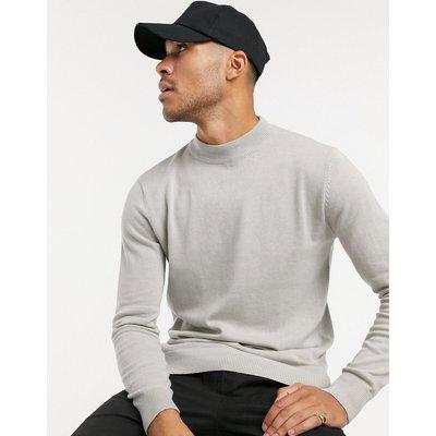 Brave Soul – Pullover aus 100 % Baumwolle mit hohem Stehkragen in Grau