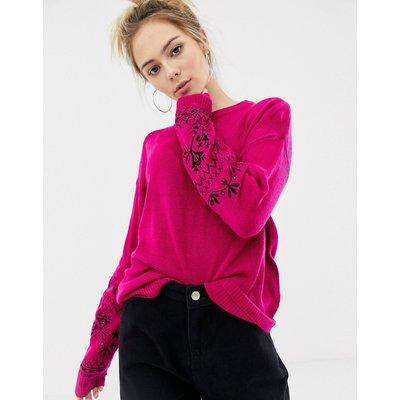 Brave Soul – Pullover mit Blütendesign und bestickten Ärmeln-Schwarz