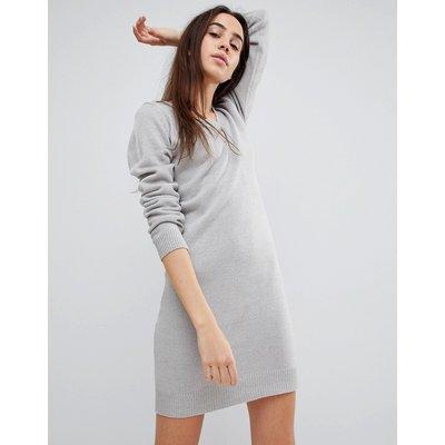 Brave Soul – Pulloverkleid mit V-Ausschnitt-Grau