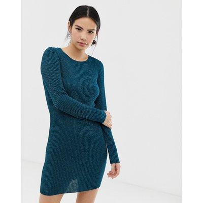 Brave Soul – Pulloverkleid mit Zopfstrickmuster in Blaugrün