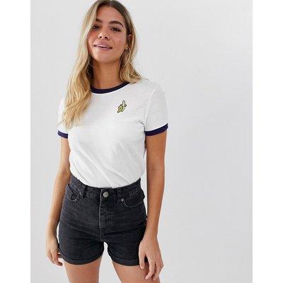 Brave Soul – Ringer-T Shirt mit Bananamuster-Weiß