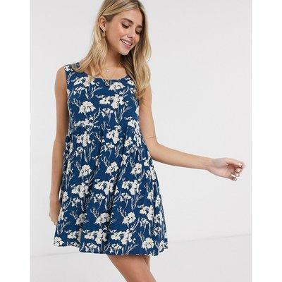Brave Soul – Rolla – Kurzes Swing-Kleid mit Blumenmuster in Marineblau-Mehrfarbig