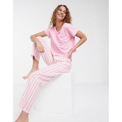 Brave Soul – Rosa gestreifterPyjama bestehend aus T-Shirt und Hose