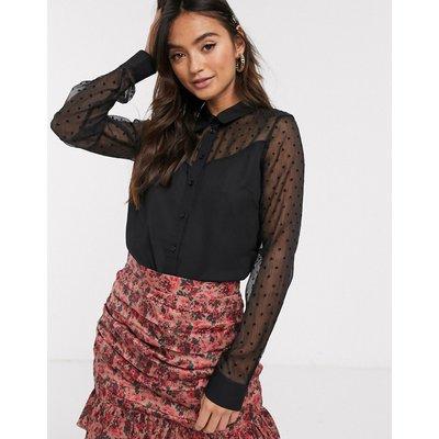Brave Soul – Schwarze Bluse mit transparenten Ärmeln