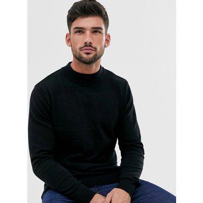 Brave Soul – Schwarzer Rollkragenpullover aus 100 % Baumwolle