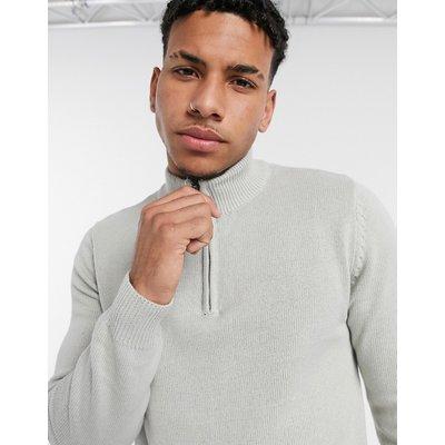 Brave Soul – Strickpullover aus 100% Baumwolle mit Stehkragen und halblangem Reißverschluss-Grau