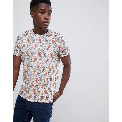 Brave Soul – T-Shirt mit Blumenprint-Cremeweiß