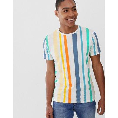 Brave Soul – T-Shirt mit Regenbogenstreifen-Weiß