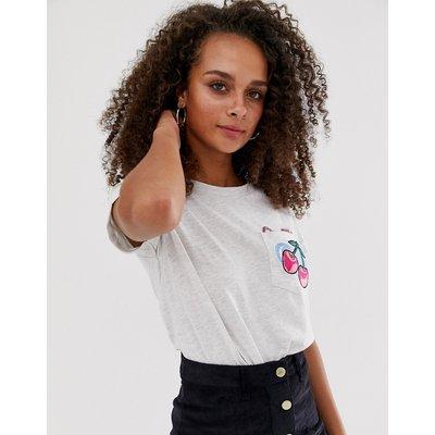 Brave Soul – T-Shirt mit Tasche und Kirschdruck-Grau