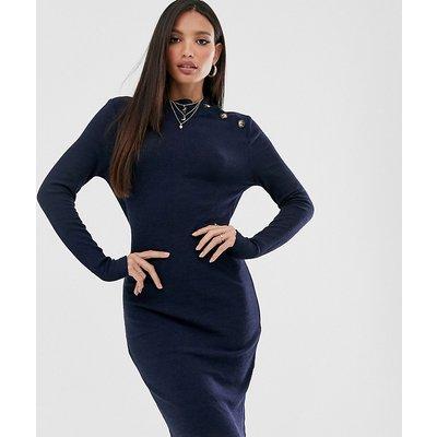 Brave Soul Tall – Beda – Geripptes Pulloverkleid mit geknöpftem Kragen-Navy