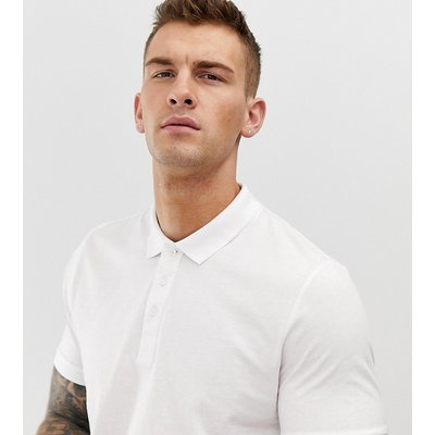 Brave Soul Tall – Jersey-Polohemd in Muskelform-Weiß