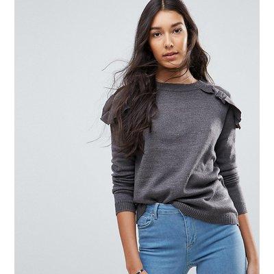 Brave Soul Tall – Pullover mit gerüschten Schultern-Grau