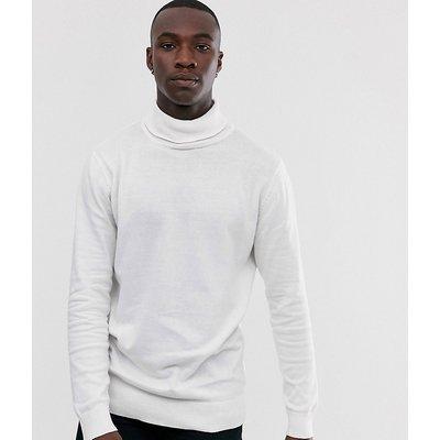 Brave Soul Tall – Rollkragenpullover aus100% Baumwolle-Weiß