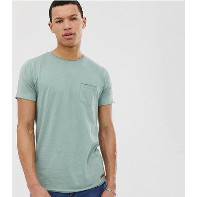 Brave Soul Tall – T-Shirt mit abgeschnittenem Rand-Grün