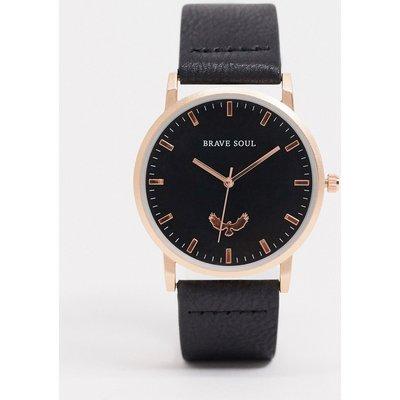 Brave Soul – Uhr mit schwarzem Armband und goldenen Details