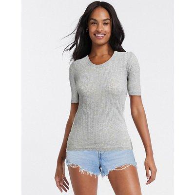 Brave Soul – Valerie – Geripptes T-Shirt in Grau   BRAVE SOUL SALE