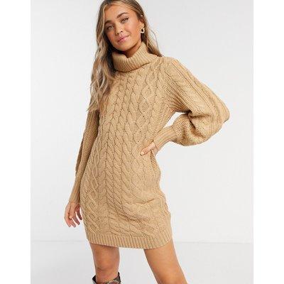 Brave Soul – Zincon– Pulloverkleid mit Zopfstrickmuster und Ballonärmeln-Braun   BRAVE SOUL SALE
