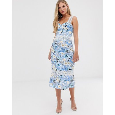 Bronx & Banco Yana floral pencil midi dress-Blue