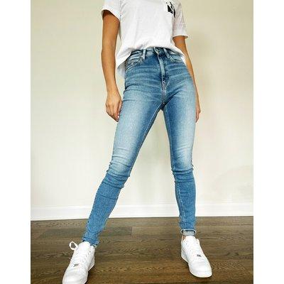 Calvin Klein – Enge Jeans mit hoher Taille-Blau