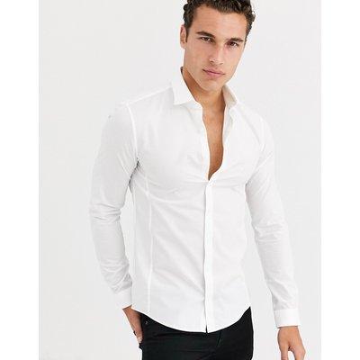 Calvin Klein – Extraschmal geschnittenes Stretch-Hemd aus Popeline-Weiß