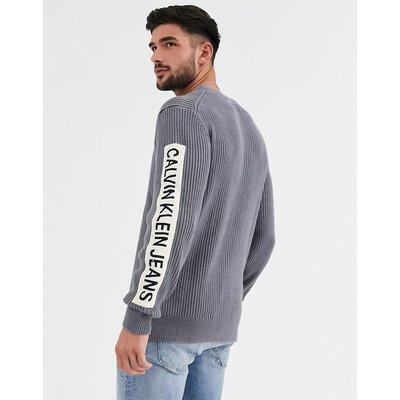 Calvin Klein – Gerippter Pullover mit Aufnäher-Grau