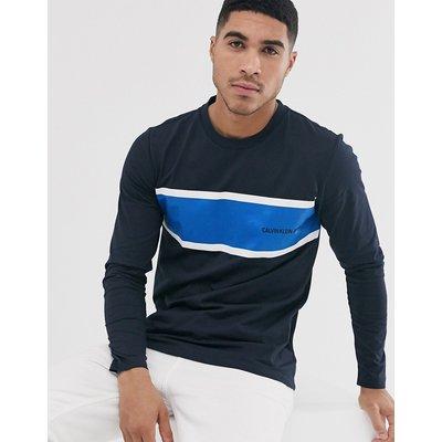 Calvin Klein Jeans – Institutional – Gestreiftes, langärmliges Shirt-Blau