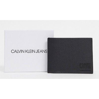 Calvin Klein Jeans – Schmale Geldbörse aus Leder mit Monogramm-Schwarz