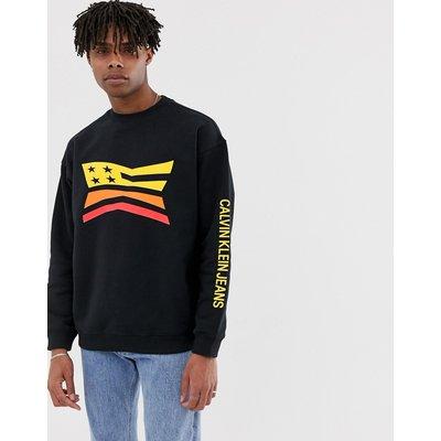 Calvin Klein Jeans – Sweatshirt mit Rundhalsausschnitt und Logo-Schwarz