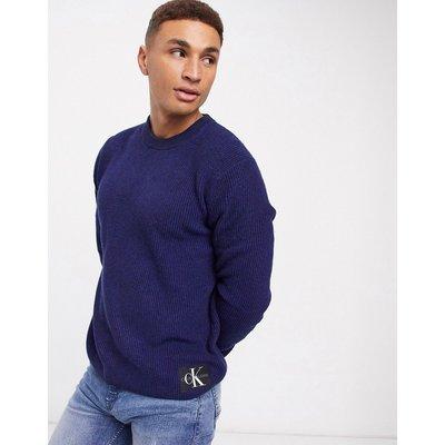 Calvin Klein Jeans – Zweifarbiger Baumwollpullover-Navy