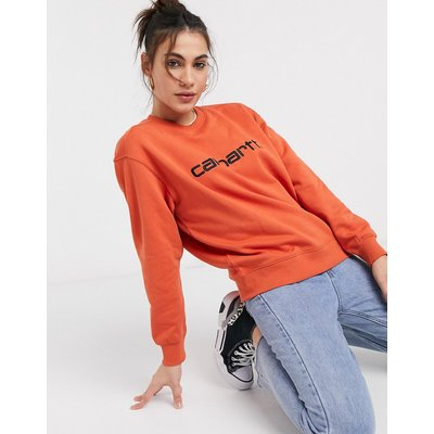 Carhartt WIP – Carhartt – Sweatshirt in Ziegelstein-Orange und Schwarz