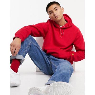 Carhartt WIP – Chase – Sweatshirt in Etna-Rot und Gold mit Kapuze