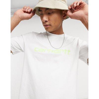 Carhartt WIP – Kurzärmliges T-Shirt in Weiß und Limettengrün mit Schriftzug