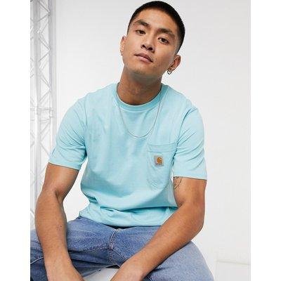 Carhartt WIP – Kurzärmliges T-Shirt mit Tasche in Window-Blau