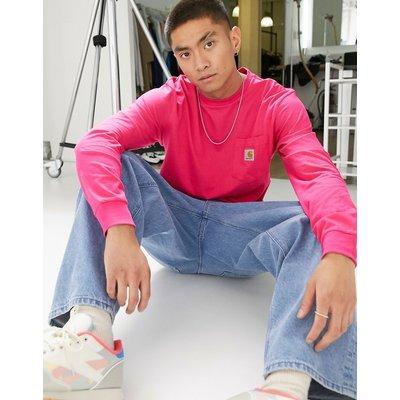 Carhartt WIP – Langärmliges Shirt mit Tasche in Pink-Rosa