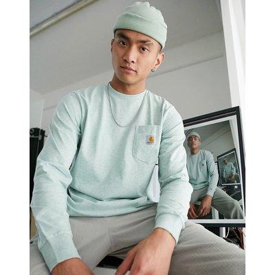 Carhartt WIP – Langärmliges Shirt mit Tasche in Zola-Heidegrün-Grau