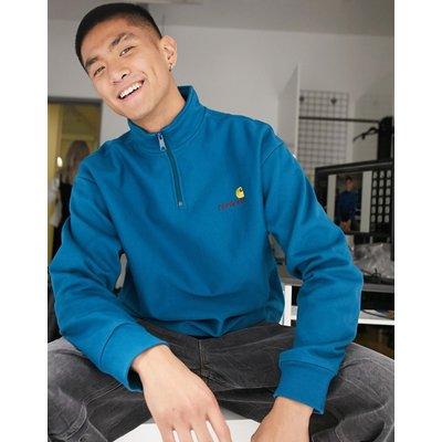 Carhartt WIP – Sweatshirt in Blau mit American-Schriftzug und kurzem Reißverschluss | CARHARTT SALE