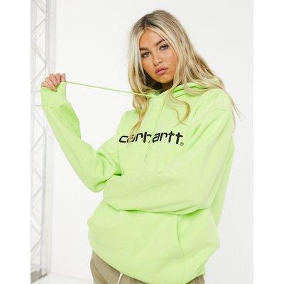 Carhartt WIP – Sweatshirt mit Kapuze in Limettengrün und Schwarz