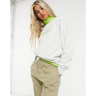 Carhartt WIP – Sweatshirt mit Logo in Asche meliert & Limette-Grau