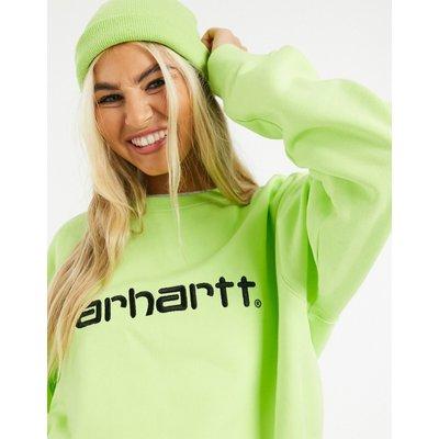 Carhartt WIP – Sweatshirt mit Logo in Limette & Schwarz-Grün