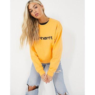 Carhartt WIP – Sweatshirt mit Logo in Pop Orange und Schwarz
