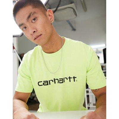 Carhartt WIP – T-Shirt mit Schriftzug in Limettengrün & Schwarz