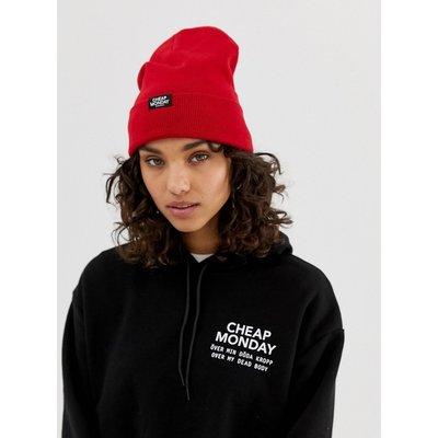 Cheap Monday – Strickmütze mit Logo-Rot