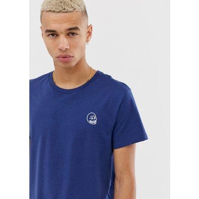 Cheap Monday – T-Shirt mit kleinem Schädel-Motiv-Blau