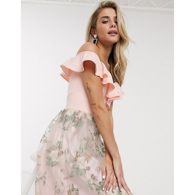Chi Chi Kenna midi dress with embroided skitrt in pink