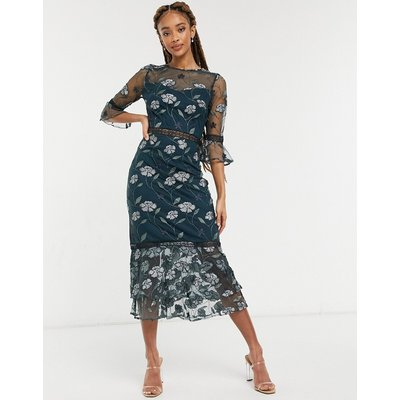 Chi Chi London Aislinn embroidered midi dress withfrill sleeves in forest green