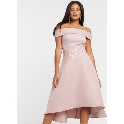 Chi Chi London bardot high low midi dress in mink-Pink