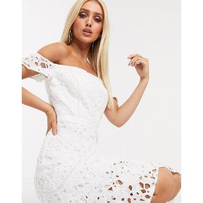 Chi Chi London bardot lace midi dress with flippy hem in white