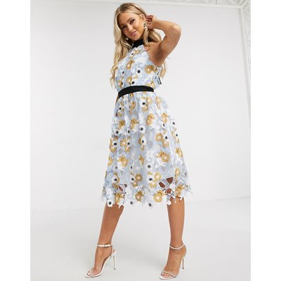 Chi Chi London crochet lace prom dress in multi floral